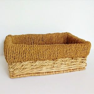 Boho Two Toned Wicker Rope Detail Basket